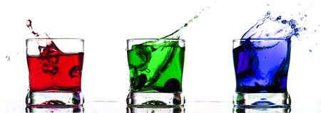 coctail: rgb coctail drink splash isolated on white Stock Photo