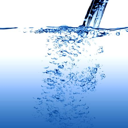 aqa: water falling close up bubble stream