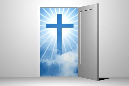 god in heaven: god heaven entrance unreal divine Stock Photo