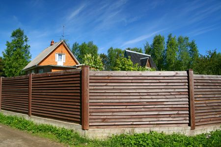 village wooden house under blue sky Stock Photo - 3139033