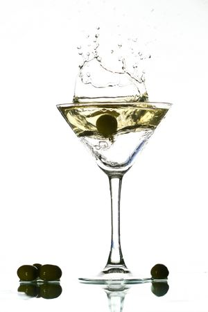 martini splash on white bar background