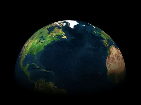 3d earth in black space Stock Photo - 3178305