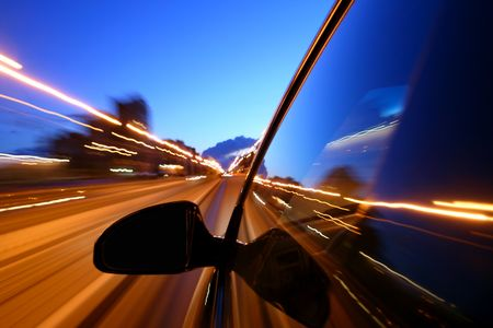 night drive motion blurred transportation background Stock Photo - 3178296