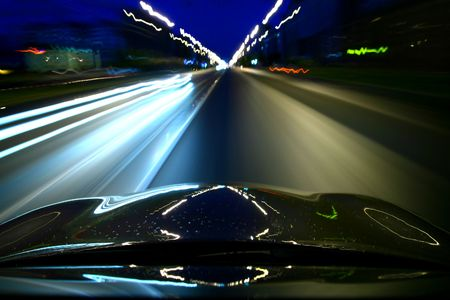 night drive motion blurred transportation background Stock Photo - 3178290