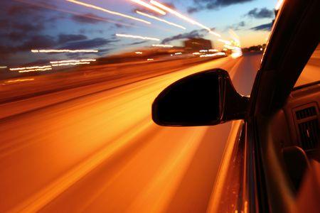 night drive motion blurred transportation background Stock Photo - 3178291