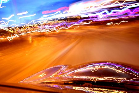 speed drive on  at night motion blurred Stock Photo - 3215912
