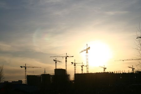 construction sunset industry background Stock Photo - 3215785