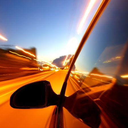 speed drive on car at night motion blurred Stock Photo - 3222032