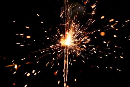 sparkler firework flame on black Stock Photo - 3222051