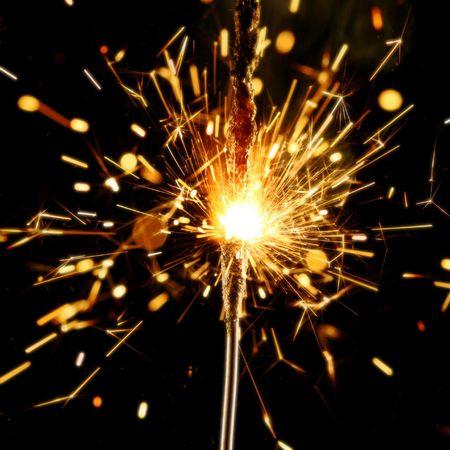 sparkler firework flame on black Stock Photo - 3245938