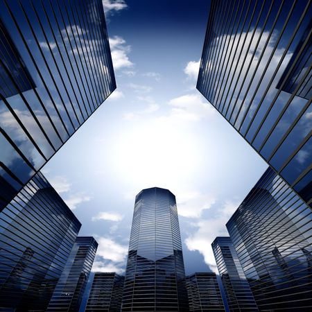 highrise: scrapers abstract business concept 3d background