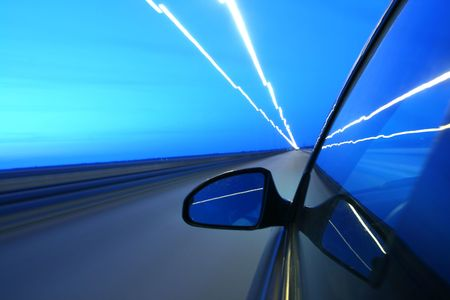 speed drive on car at night motion blurred Stock Photo - 3265108