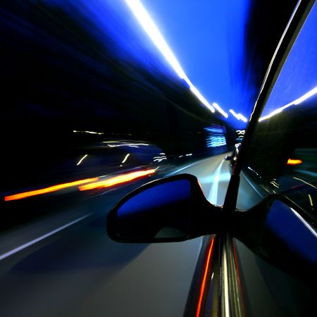speed car on highway motion blurred