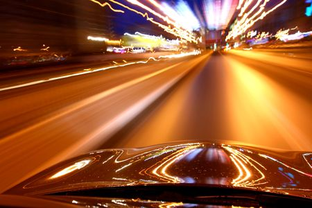 dynamic motion: speed drive on car at night motion blurred Stock Photo