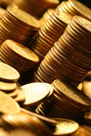 golden coins macro close up photo