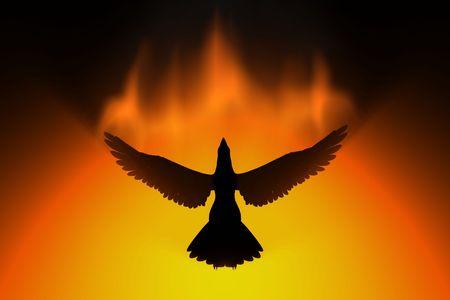 phoenix rising in fire 3d concept photo