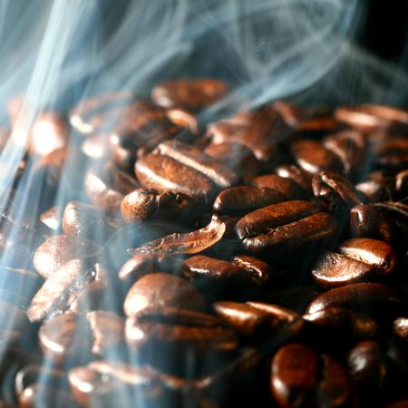 macro coffee beans in aroma smoke Stock Photo - 3295781