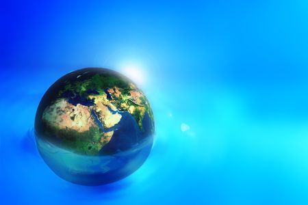 to navigate: earth flow in blue digital space Stock Photo