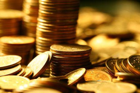golden coins macro close up Stock Photo - 3295817