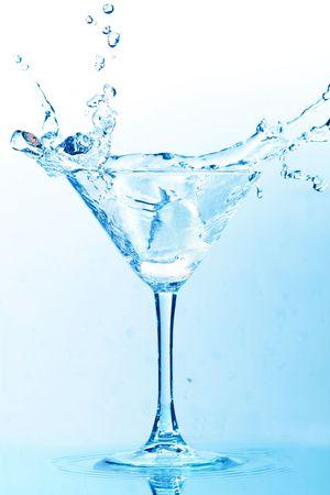 coctail splash on white background close up
