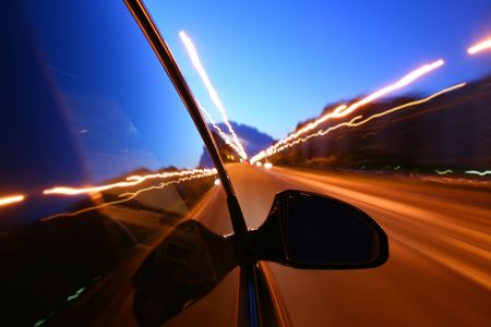speed drive on car at night motion blurred Stock Photo - 3368656