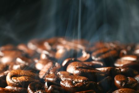 macro coffee beans in aroma smoke Stock Photo - 3368689
