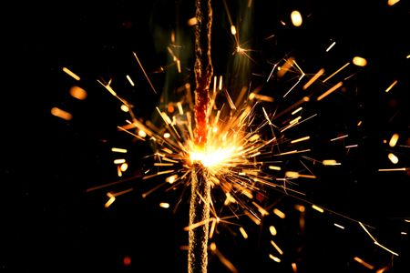 sparkler firework flame on black Stock Photo - 3368644