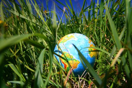 globe of planet earth in green grass  photo