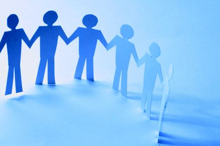 paper team linked together partnership concept Stock Photo - 3380011