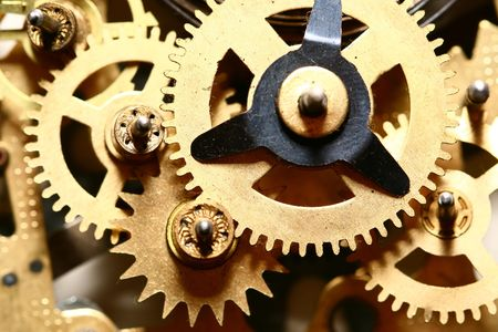 sprockets: time gear inside my rare clock Stock Photo