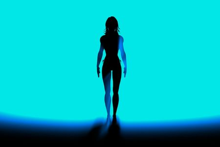 cyber girl in blue light sexy Stock Photo - 3379970