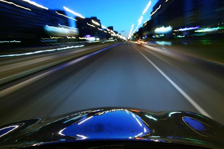 speed drive on car at night motion blurred Stock Photo - 3397184