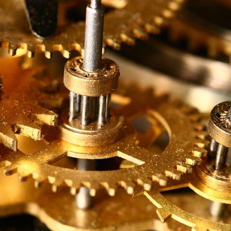 sprockets: time gear inside my rare clock Stock Photo