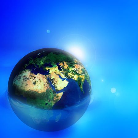 earth flow in blue digital space Stock Photo - 3427535