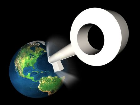 unlock 3d earth in black space Stock Photo - 3446504