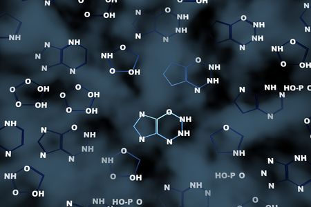 cromosoma: ADN qu�mica 3d resumen de antecedentes  Foto de archivo