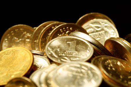 tresure: coins macro close up cash background Stock Photo