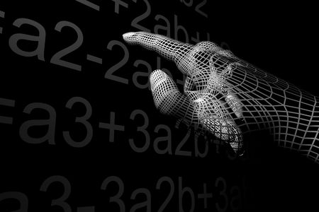 mathematical proof: cyber hand mathemathics 3d abstract Stock Photo