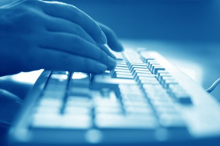 keyboard work hand background Stock Photo - 3464053