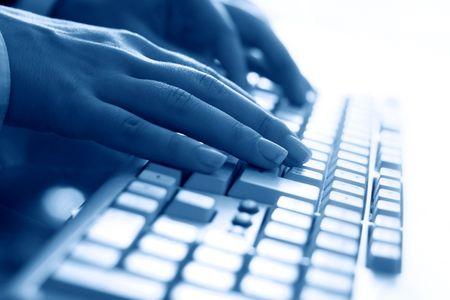 keyboard work hand background Stock Photo - 3474342
