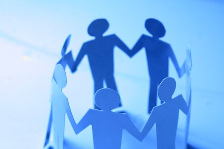 paper team linked together partnership concept Stock Photo - 3487415