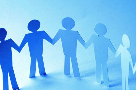 paper team linked together partnership concept Stock Photo - 3488011
