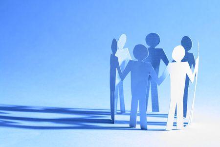 linked: paper team linked together partnership concept