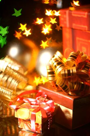 holiday gifts background warm stars Stock Photo - 3750317