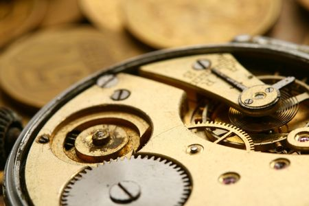 time is money coins and clock macro concet Stock Photo - 3750318