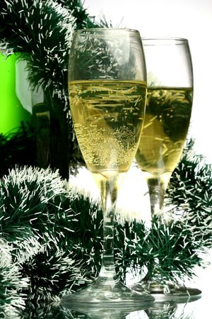 New Years card with champagne decoration photo
