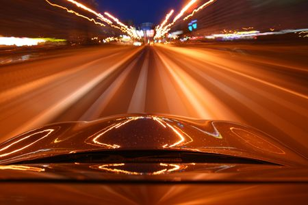 speed drive on car at night motion blurred Stock Photo - 3767371