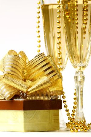 holiday card golden champagne and gift Stock Photo - 3767534