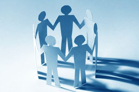 paper team linked together partnership concept Stock Photo - 3767507