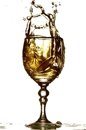 inebriated: wine splash isolated on white